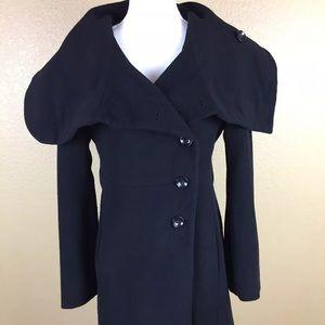 Max Mara Wool Angora Coat Sz 6 Black Button front